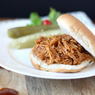 BBQ Pulled Chicken Sliders ~ An American classic, the chicken is slow cooked with Barbecue sauce then shredded or 'pulled' and piled on top of rolls. Perfect for that special gathering or just because ~ www.mykitchencraze.com
