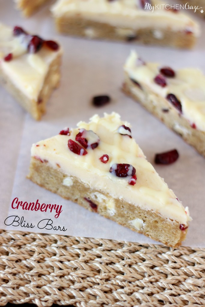 Cranberry Bliss Bars ~ A soft blondie bar with white chocolate, cranberries and covered in cream cheese frosting. Perfect treat for any occasion! ~ www.mykitchencraze.com