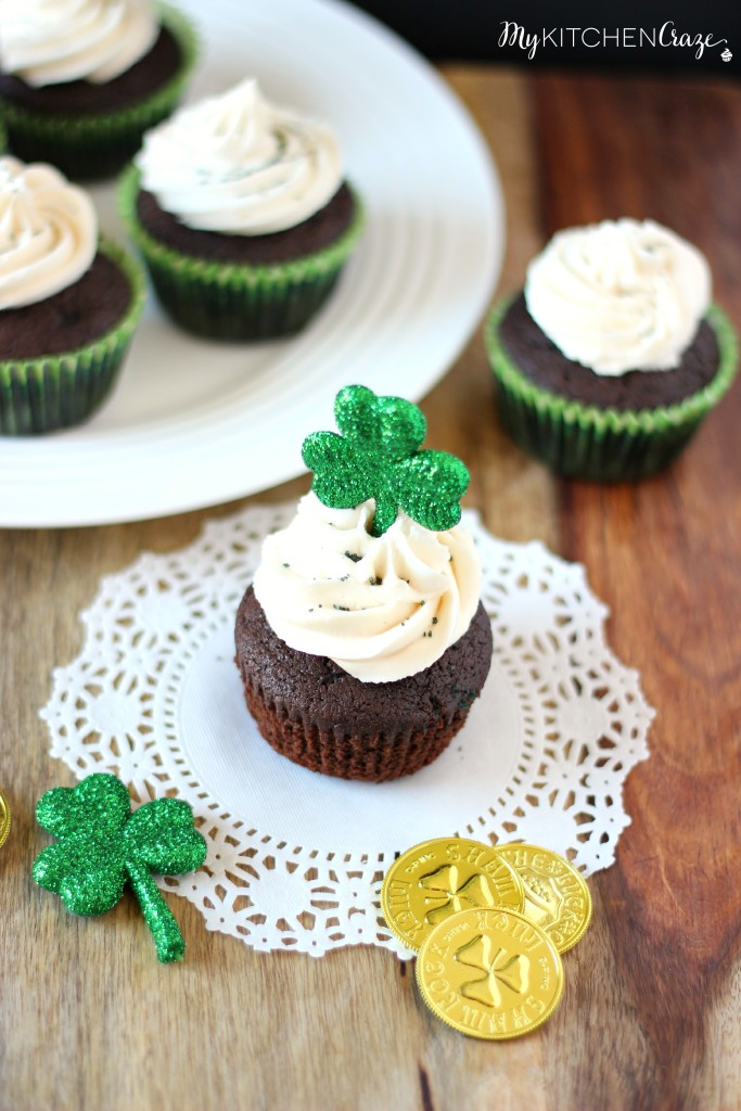 Chocolate Stout Cupcakes with Irish Cream Buttercream ~ A moist, crumbly homemade chocolate stout cake topped off with Irish Cream Buttercream. Perfect dessert for St. Patrick's Day. ~ www.mykitchencraze.com