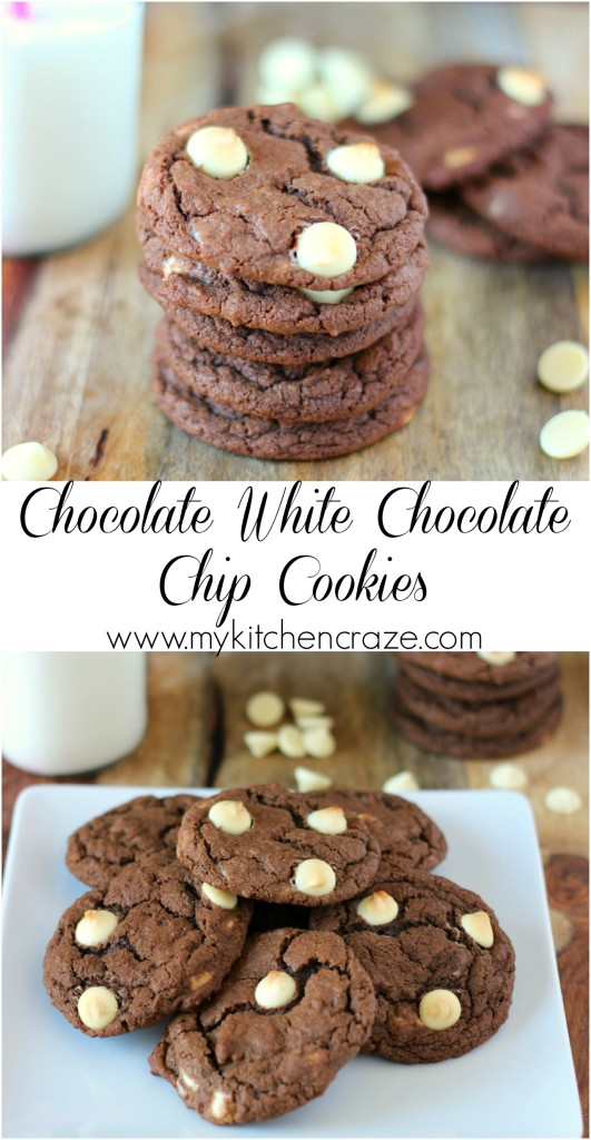 Chocolate White Chocolate Chip Cookies ~ A delicious, chewy and soft center Chocolate White Chocolate Chip Cookie. No need to buy them anywhere else. Make them yourself! ~ www.mykitchencraze.com
