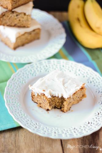 Banana Snack Cake with Cream Cheese Frosting ~ www.mykitchecraze.com