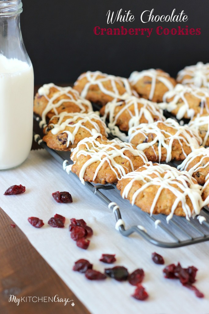 White Chocolate Cranberry Cookies ~ www.mykitchencraze.com ~ A soft and moist oatmeal cookie that's filled with delicious dried cranberries & white chocolate chunks!