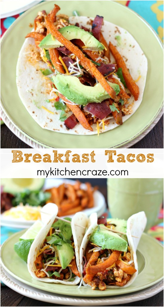 Breakfast Tacos ~ www.mykitchencraze.com ~ These delicious and tasty Breakfast Tacos are a perfect meal to get you going in the morning!