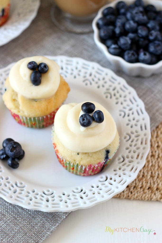Lemon Blueberry Cupcakes ~ mykitchencraze.com ~  A moist cupcake filled with juicy blueberries and lemon zest. Topped with a delicious cream cheese frosting.