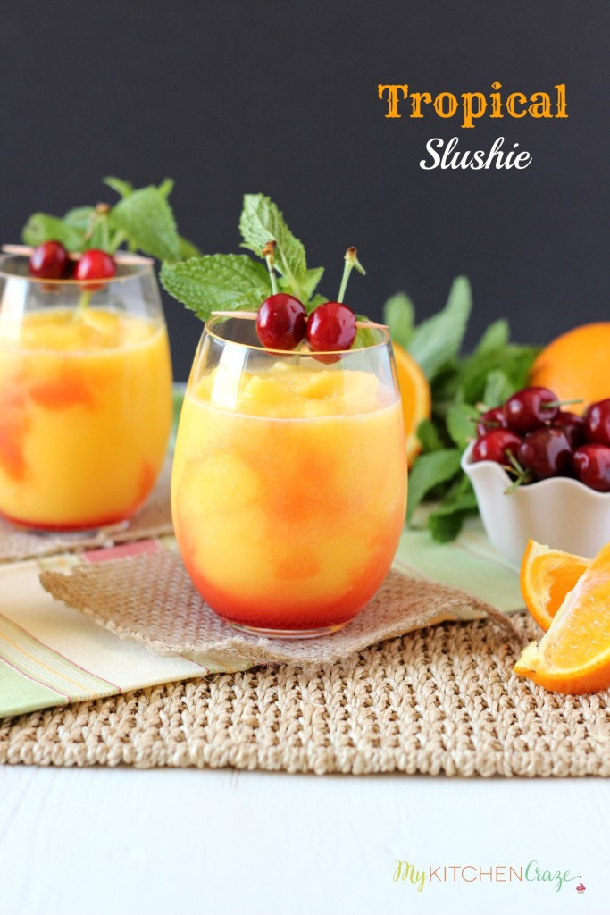 Tropical Slushie ~ mykitchencraze.com ~ A cool and refreshing drink filled with fruits and SunnyD! Yum!!