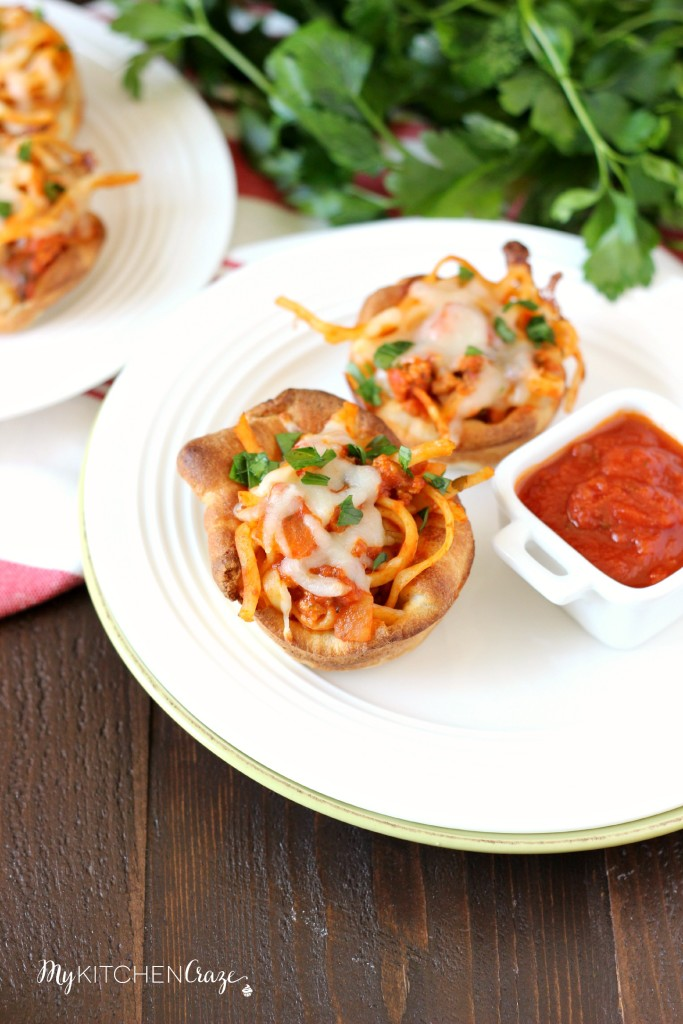 Spaghetti Cups ~ mykitchencraze.com ~ A great way to use up that leftover spaghetti!