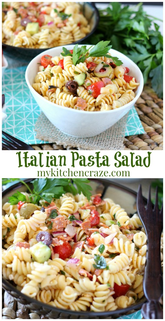 Italian Pasta Salad ~ www.mykitchencraze.com ~ This pasta salad can be served as a side dish or add some chicken and you have a meal!