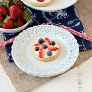 Mini Patriotic Fruit Pizzas ~ mykitchencraze.com ~ Perfect for the holidays or just because!