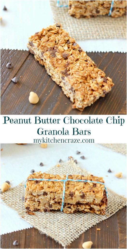 Peanut Butter Chocolate Chip Granola Bars ~ www.mykitchencraze.com