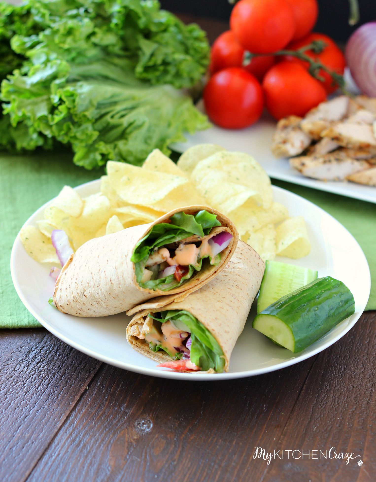 Buffalo Ranch Chicken Wrap ~ mykitchencraze.com ~ Grilled chicken smothered in buffalo ranch sauce, then added with your favorite vegetables and a wrap. Healthy, quick and delicious!