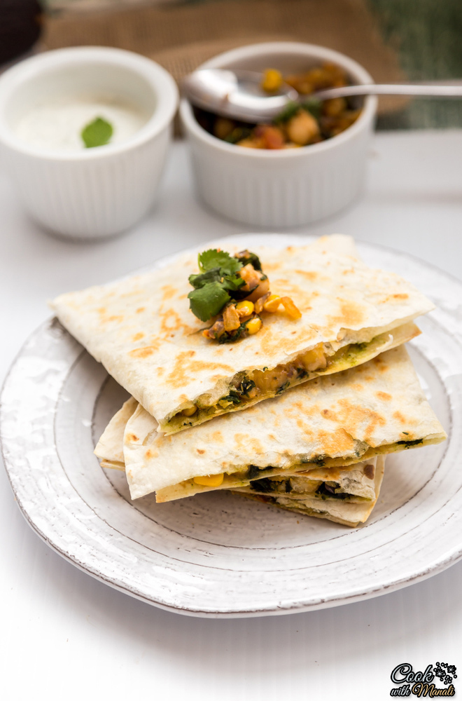 Chickpeas-Spinach-Corn-Quesadillas