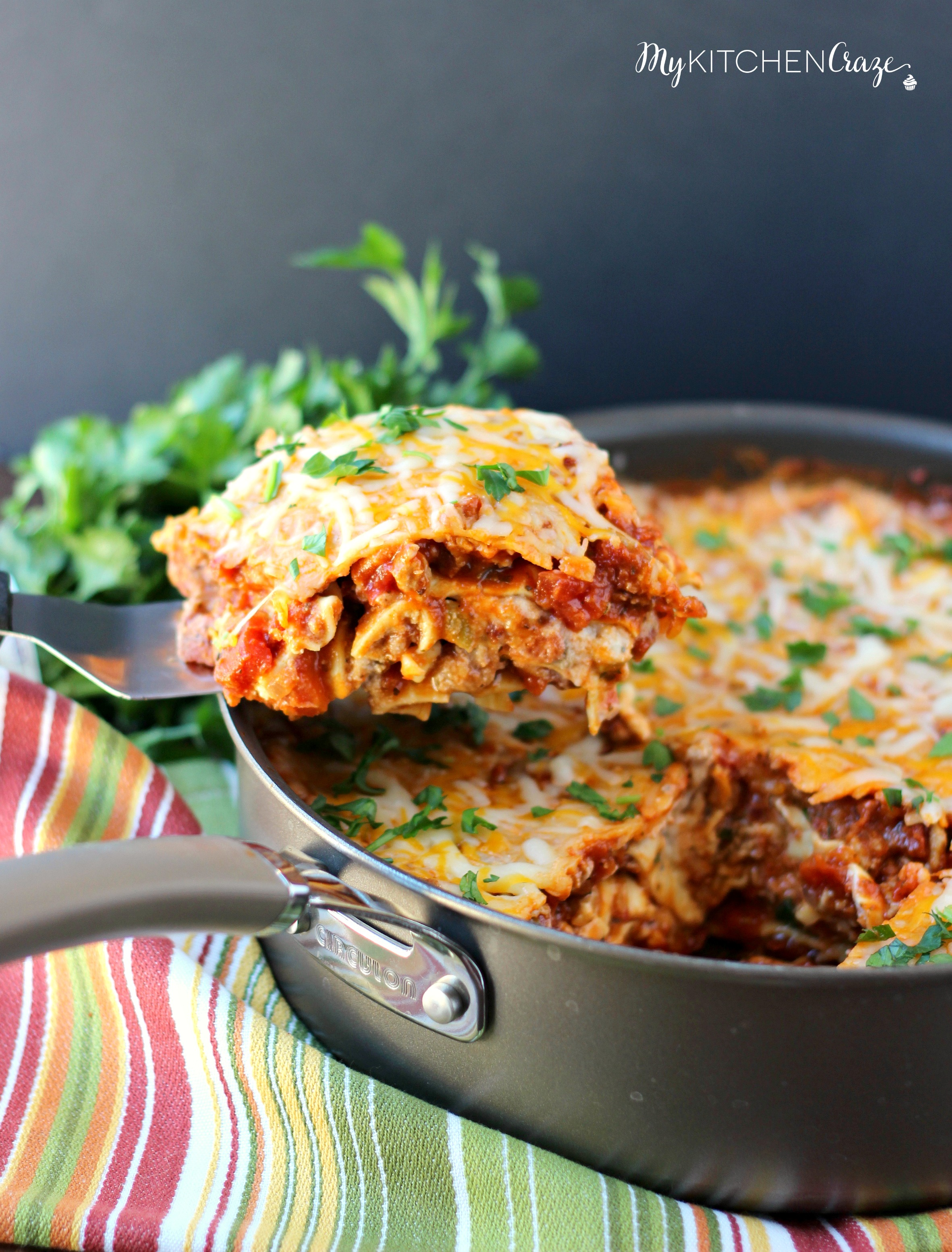 Simple Skillet Lasagna ~ mykitchencraze.com ~ Need an easy meal for dinner tonight? This skillet lasagna will be on your table in no time. Delicious!