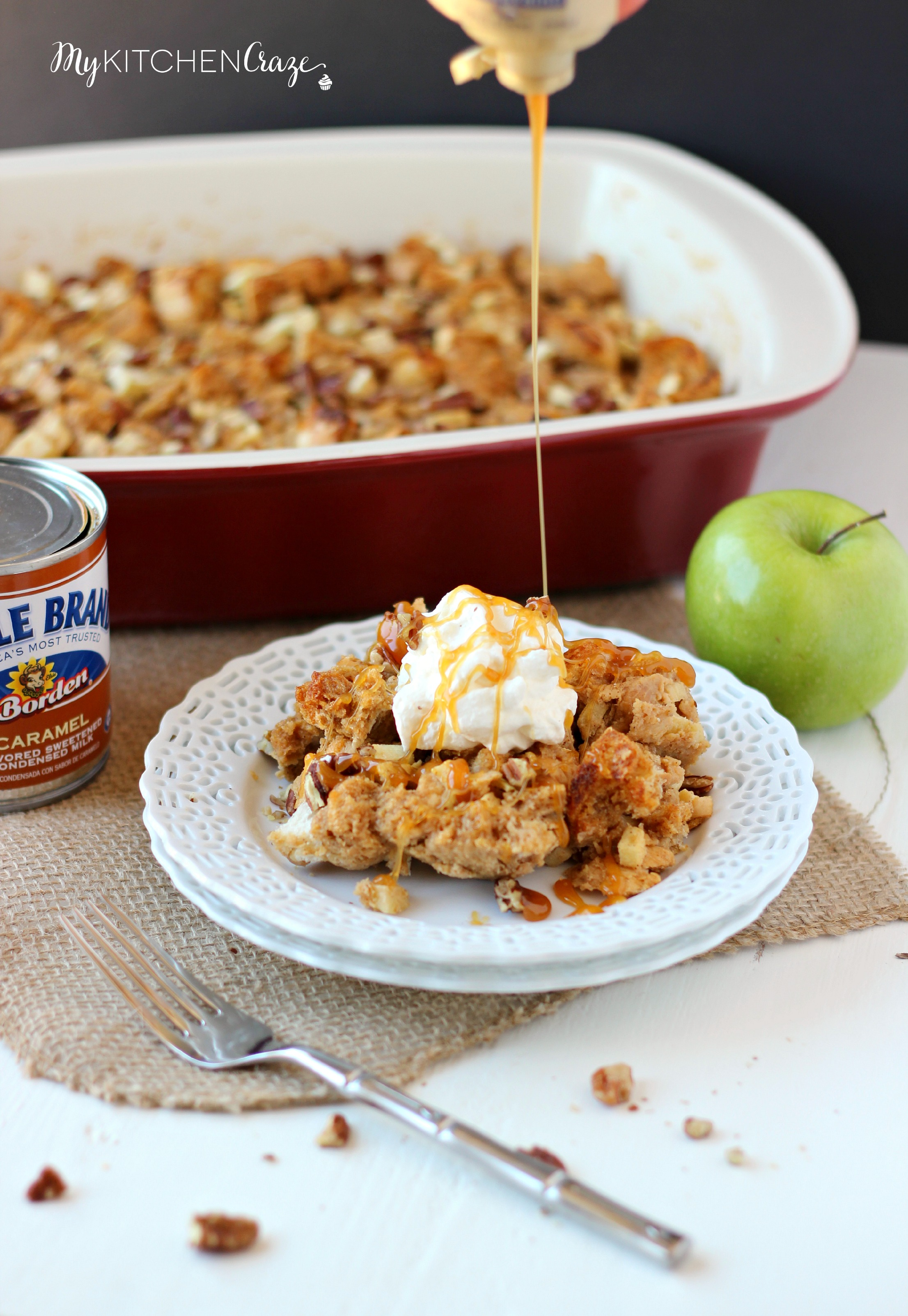 Caramel Apple Bread Pudding ~ mykitchencraze.com