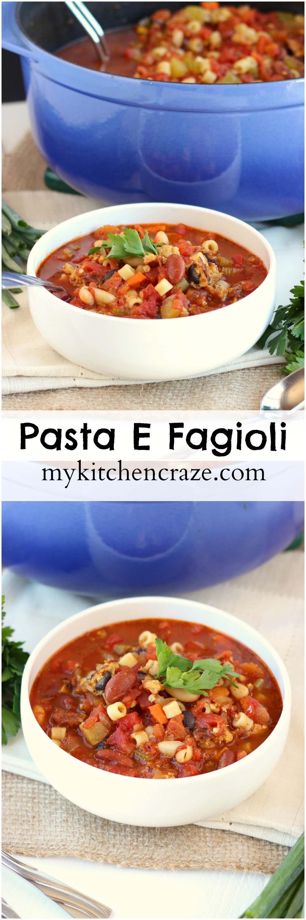 Pasta E Fagioli ~ mykitchencraze ~ Delicious hearty soup for those cold chilly nights! #FallWithATwist #ad