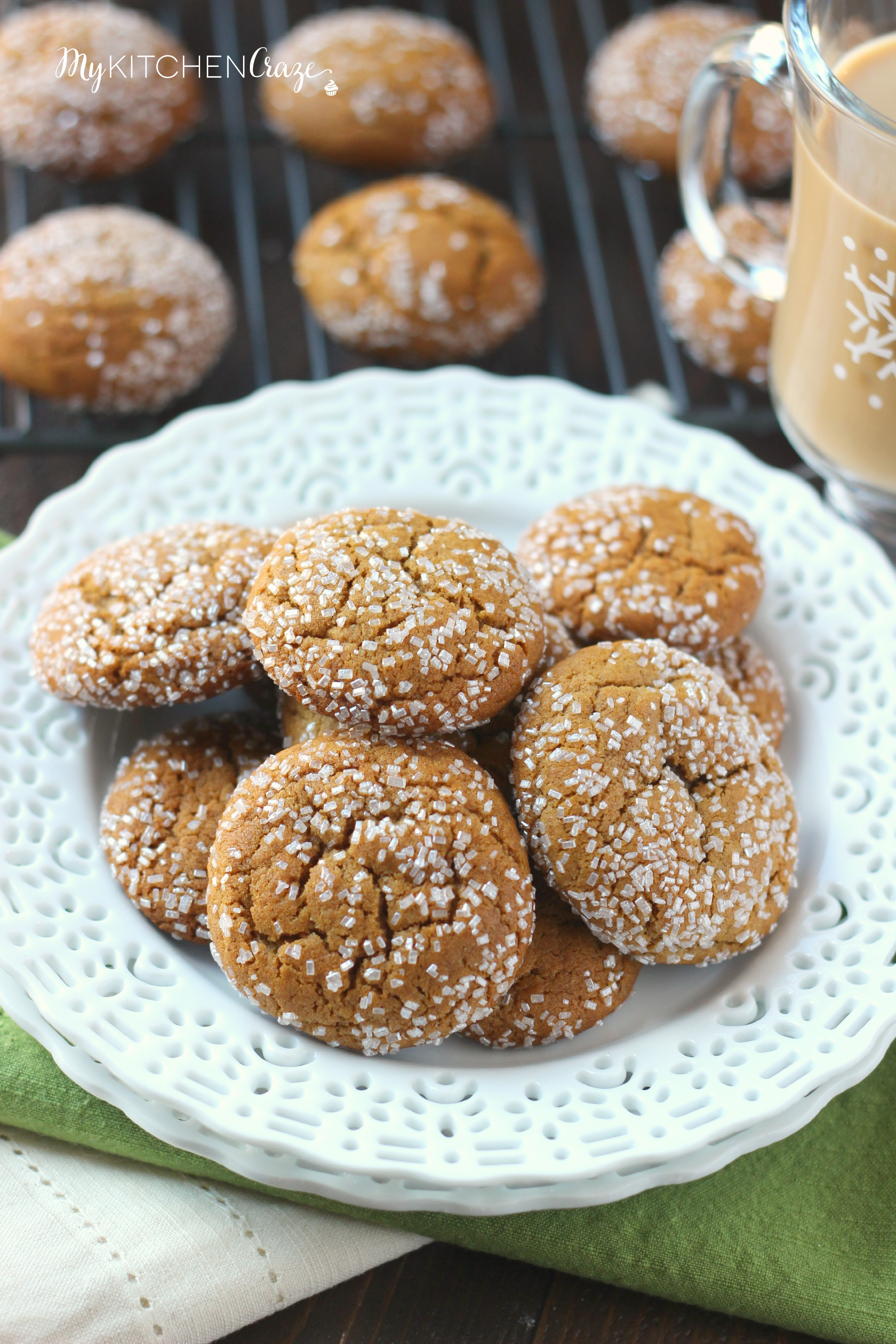 IMG_4673Molasses Crinkle Cookies ~ mykitchencraze.com ~ A delicious, soft chewy molasses crinkle cookie. Loaded with cinnamon, ginger and cloves. These cookies will be a hit!