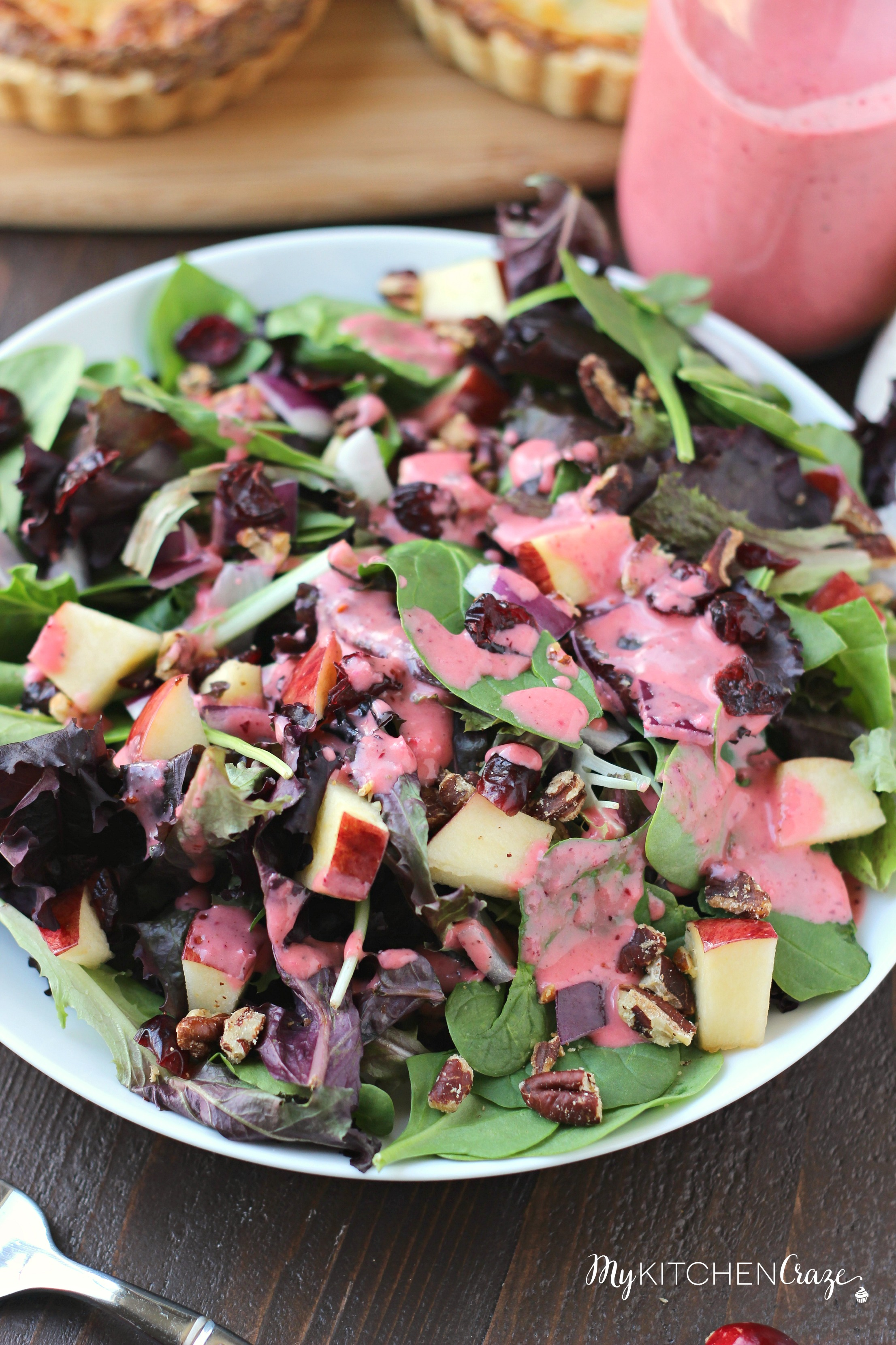 Cranberry Apple Spring Mix Salad ~ mykitchencraze.com ~ Enjoy this delicious holiday spring mix salad. Loaded with apples, pecans, dried cranberries and a decadent cranberry vinaigrette.