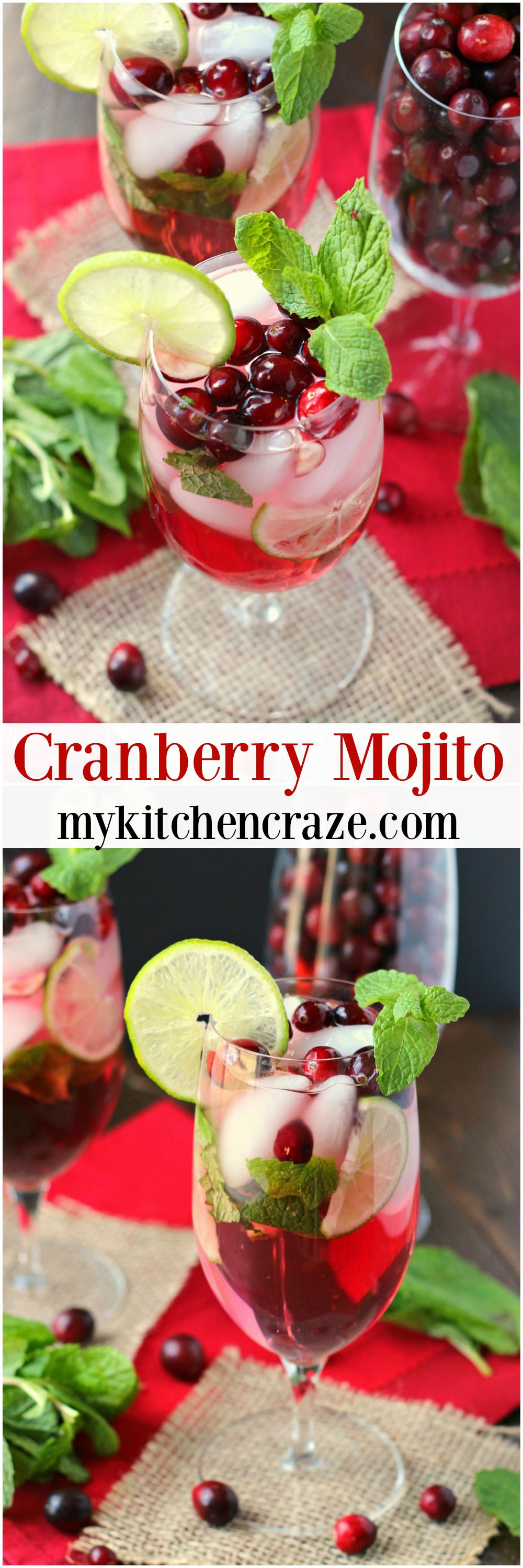 Cranberry Mojito ~ mykitchencraze.com ~ A refreshing and delicious drink for your holiday parties! #CelebrateThis #ad