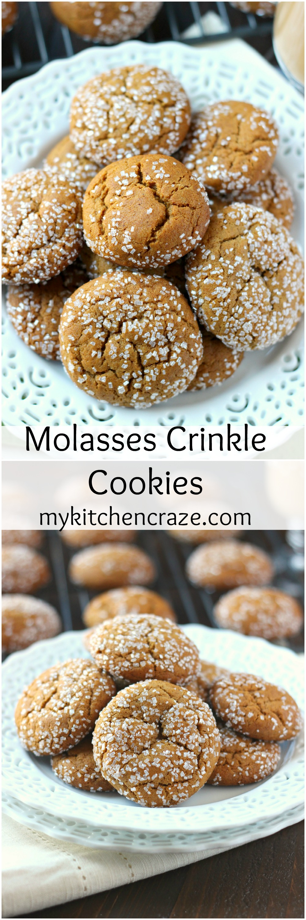 Molasses Crinkle Cookies ~ mykitchencraze.com ~ A delicious, soft chewy molasses crinkle cookie. Loaded with cinnamon, ginger and cloves. These cookies will be a hit!