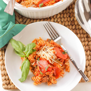Pasta Pizza Casserole ~ mykitchencraze.com ~ This casserole is everything you'd want in a pizza minus the crust. Cooked and on your table within 30 minutes. The family will love this pasta dish.