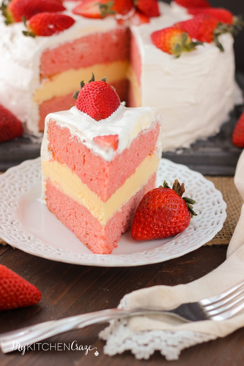 Strawberry Cream Cake Recipe   Dishmaps