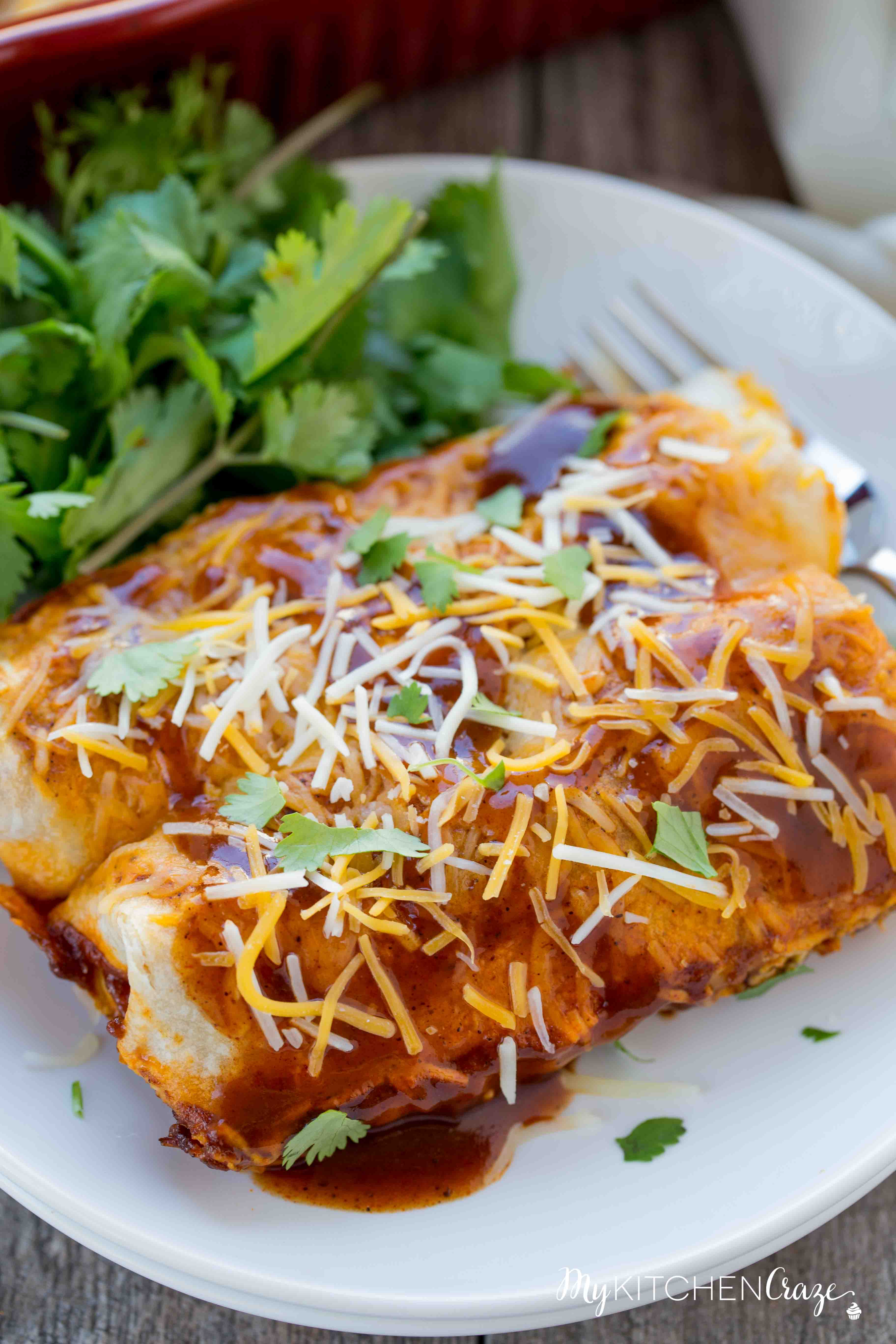 Beef & Potato Enchiladas ~ Loaded with delicious ground beef, crispy potatoes, vegetables then layered in a yummy enchilada sauce! The Perfect Weeknight Easy Dinner Recipe!