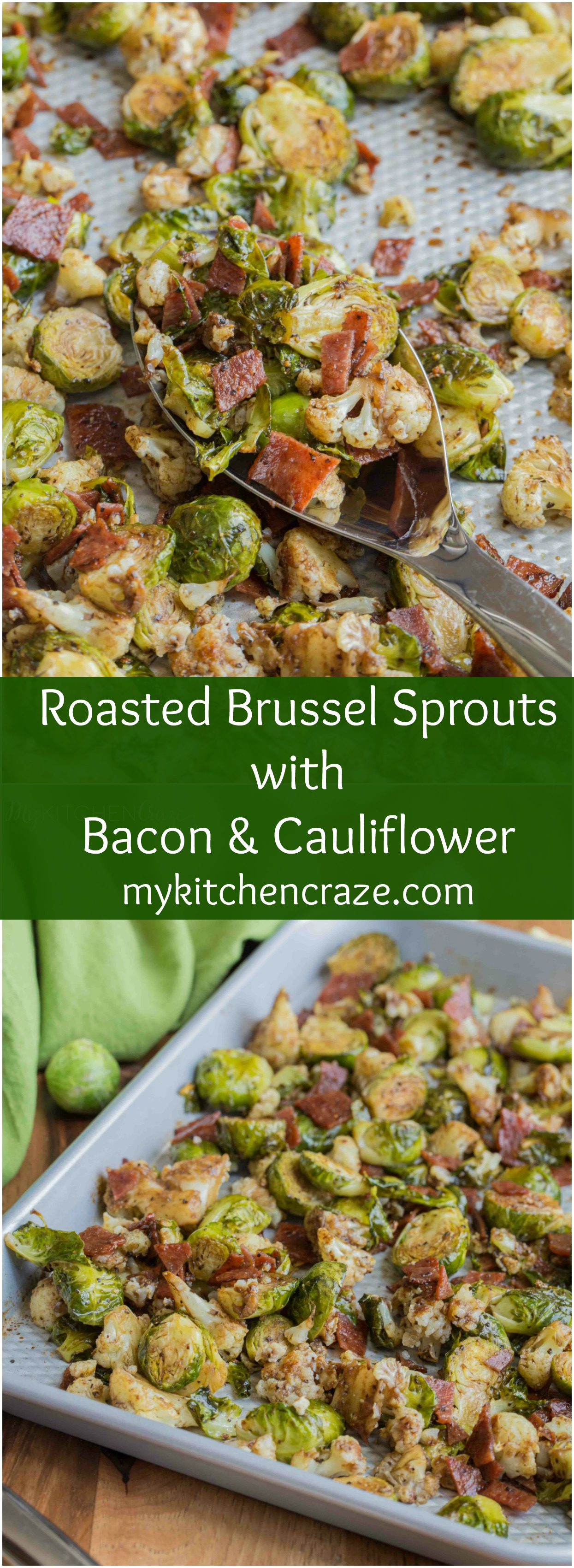 side dish loaded with roasted Brussel Sprouts and cauliflower, crispy ...