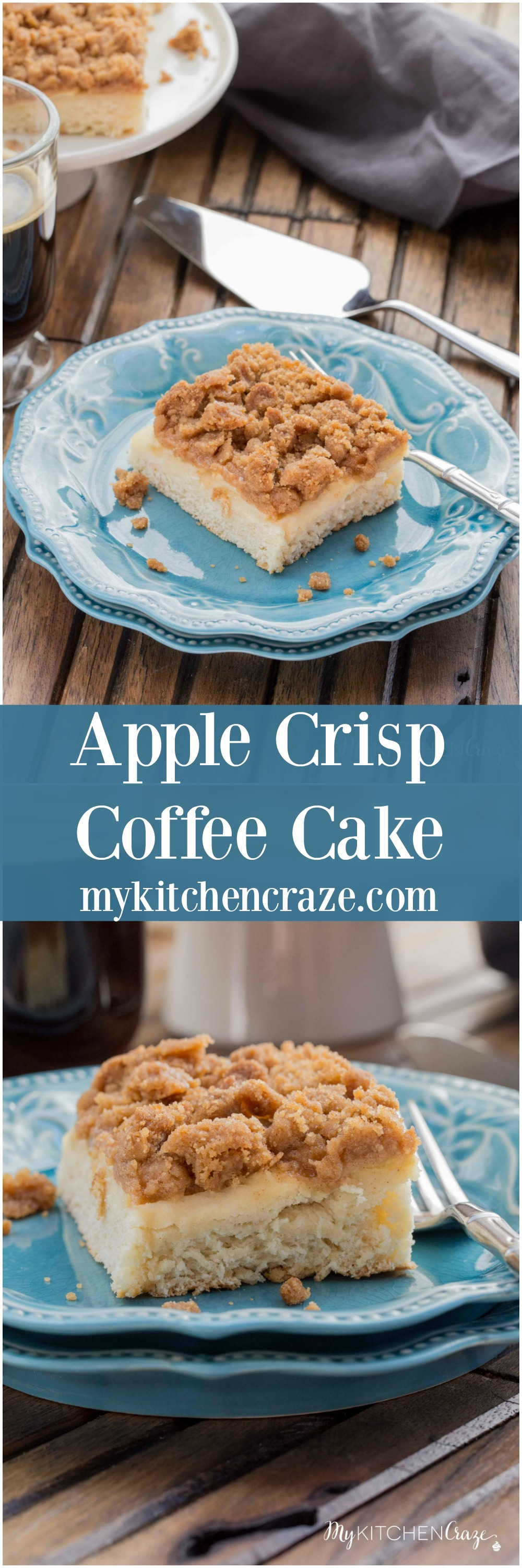 Apple Crisp Coffeecake ~ mykitchencraze.com ~ Moist cake loaded with apples then topped with a delicious crumb topping. This cake is perfect for a party or just because.