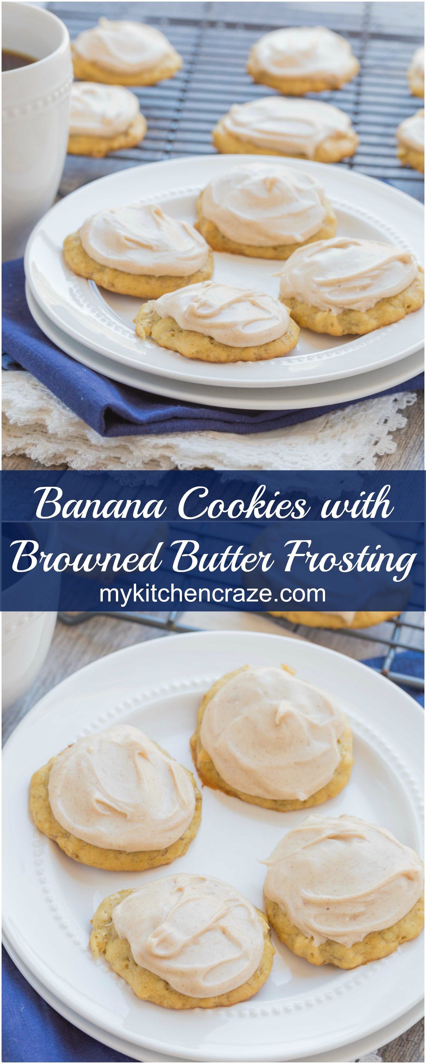 Banana Cookies with Browned Butter Frosting ~ mykitchencraze.com ~ Use up those browned bananas with this easy and delicious Banana Cookie recipe. Top them with a creamy and yummy Browned Butter Frosting. Everyone will love these cookies!