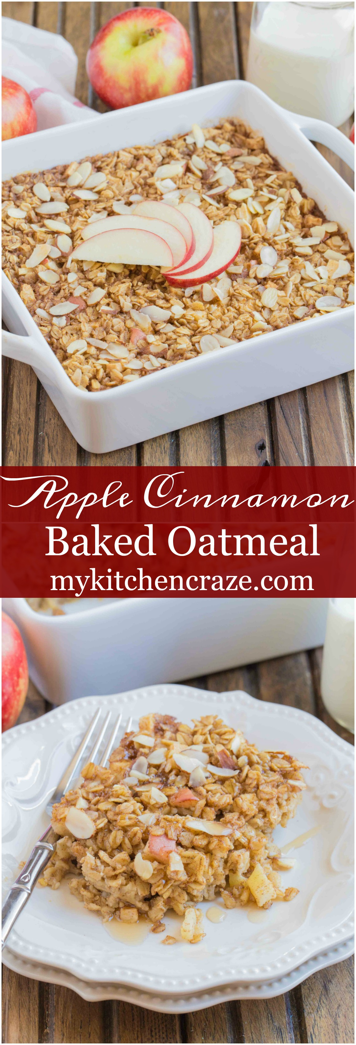 Apple Cinnamon Baked Oatmeal ~ mykitchencraze.com ~ This baked oatmeal ...