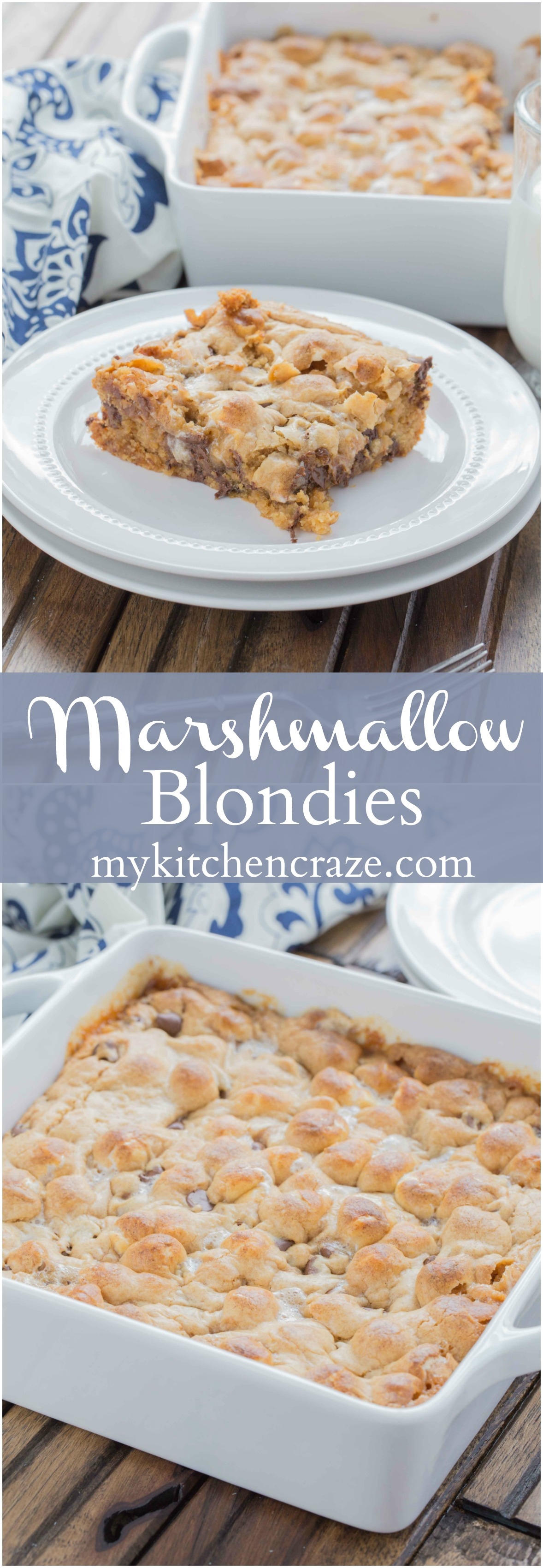 Marshmallow Blondies ~ mykitchencraze.com ~ Need a tasty and quick dessert? These Marshmallow Blondies are it. Filled with peanut butter chips, chocolate chips, mini marshmallows, baked to perfection and voila, you have yourself a tasty treat!