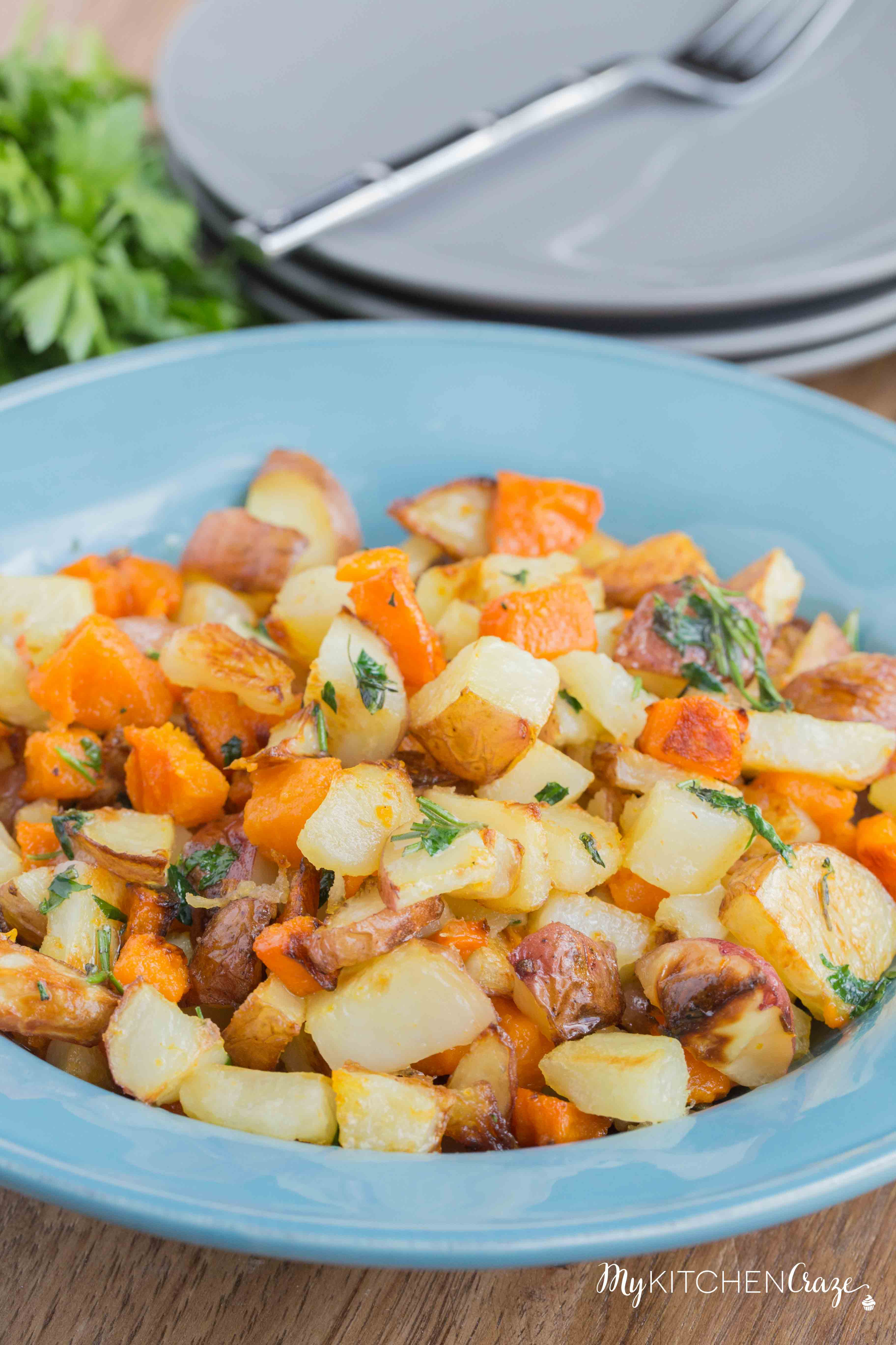 Roasted Herb Potato Medley ~ mykitchencraze.com ~ Perfect side dish to any main entree. Tender roasted potato medley, sprinkled with fresh herbs. Everyone will love this side!