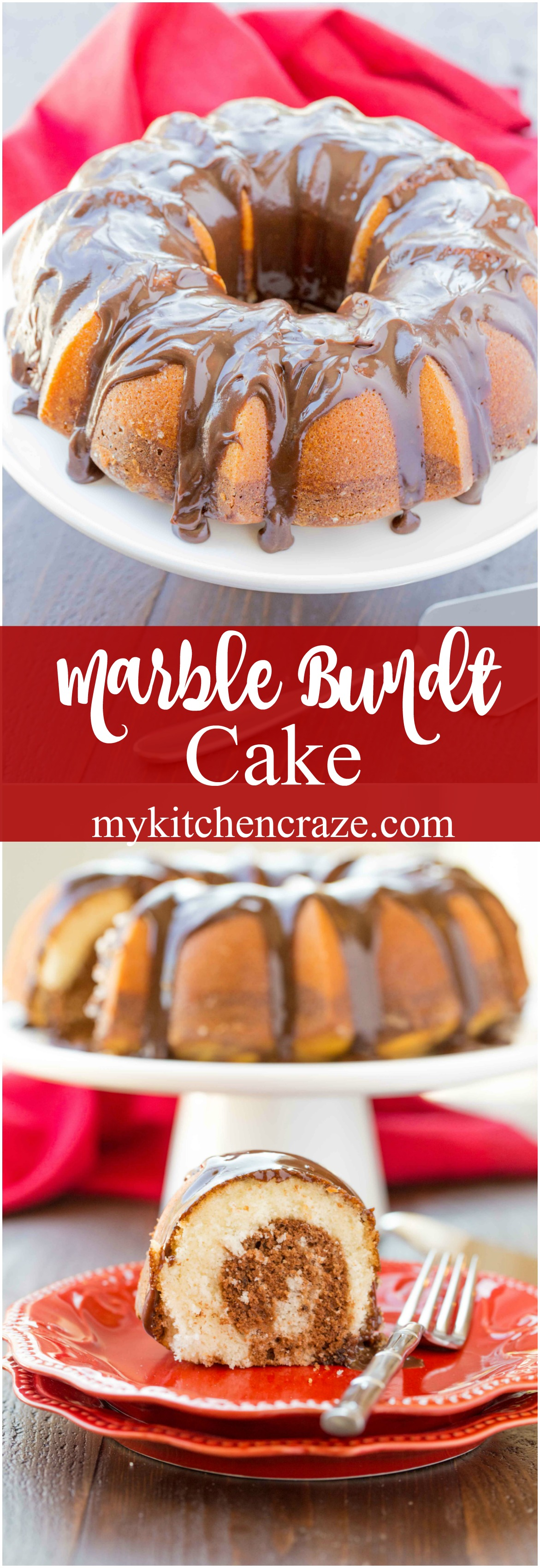 Marble Bundt Cake ~ mykitchencraze.com ~ Super easy marble bundt cake, topped with luscious chocolate ganache. This is one cake you'll want to make!
