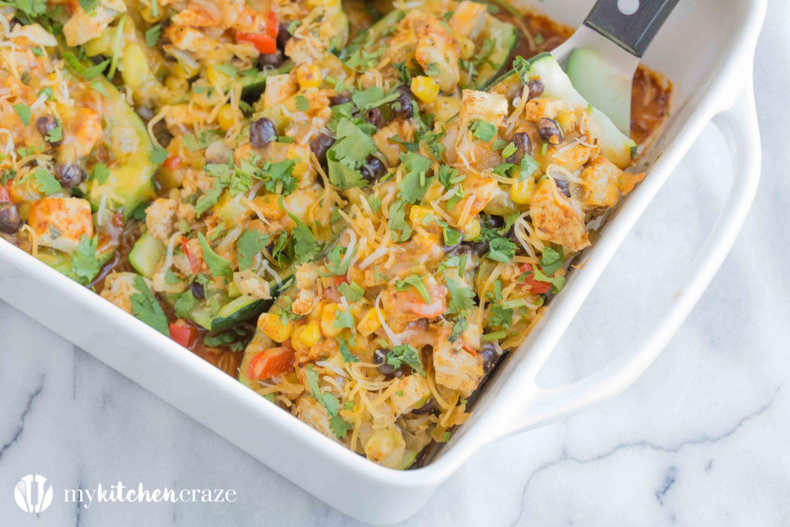 easy chicken enchilada zucchini boats