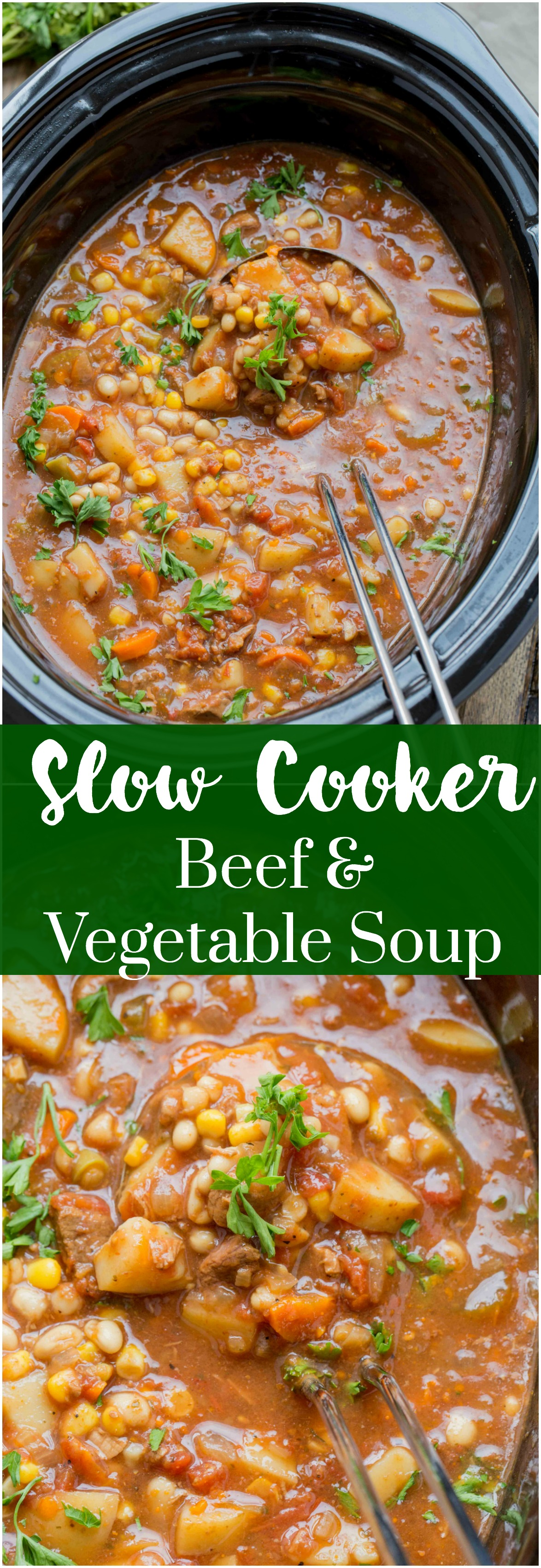 Slow Cooker Beef and Vegetable Soup ~ Easy to make, loaded with hearty vegetables and delicious beef. This is one slow cooker soup you must make this winter.