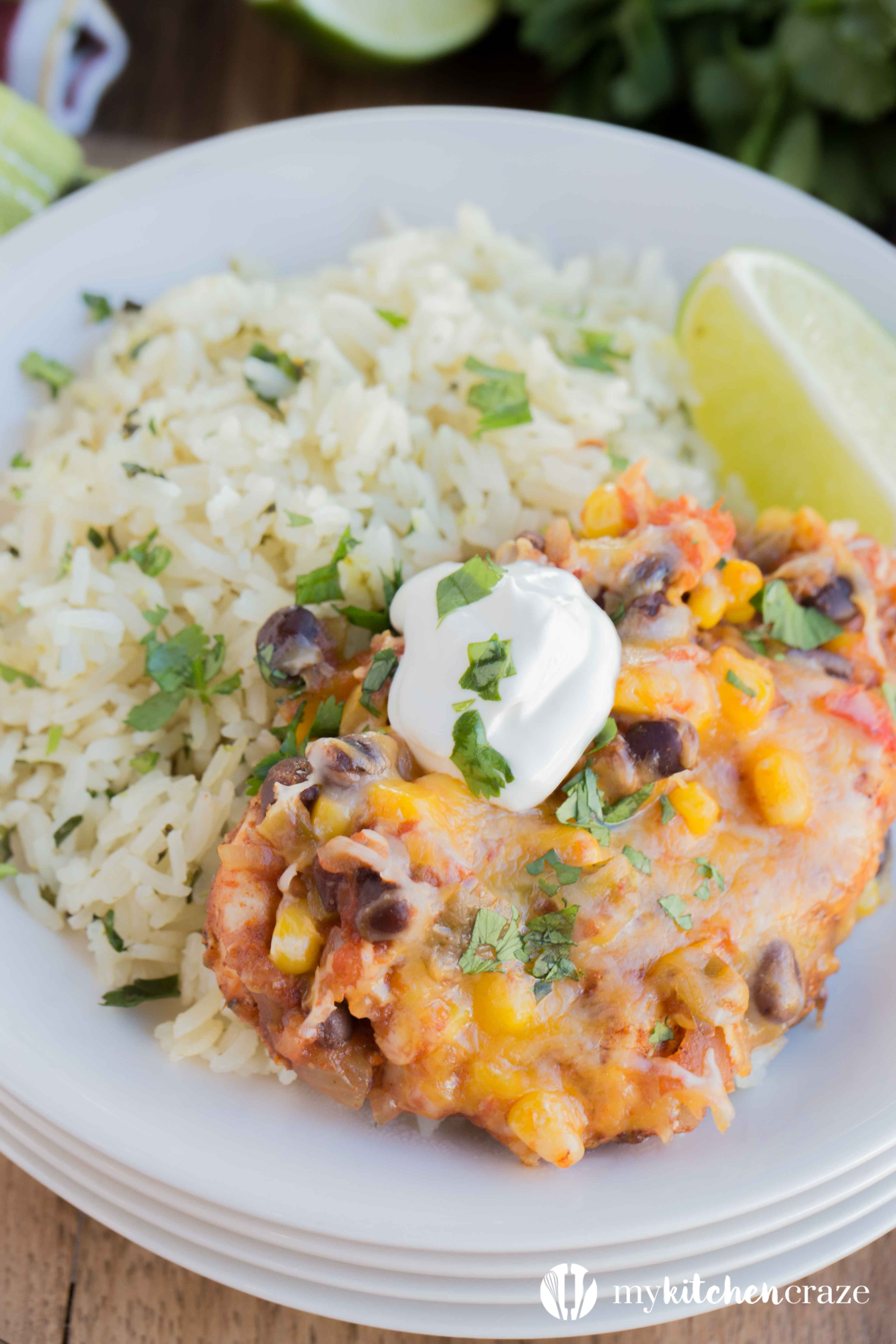 Salsa Chicken with Cilantro Lime Rice is the perfect meal for those nights you don't want to think about dinner. Made within 40 minutes, this is one delicious dinner!