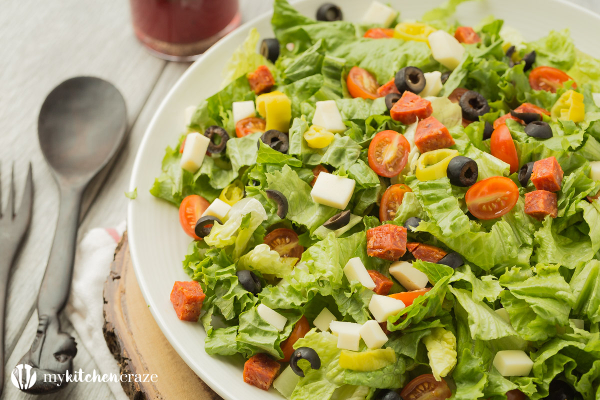 Italian Antipasto Salad ~ loaded with all sorts of flavorful vegetables then topped with a homemade red wine vinaigrette. Perfect as a side dish or grill some chicken, steak or seafood and have it as a main!