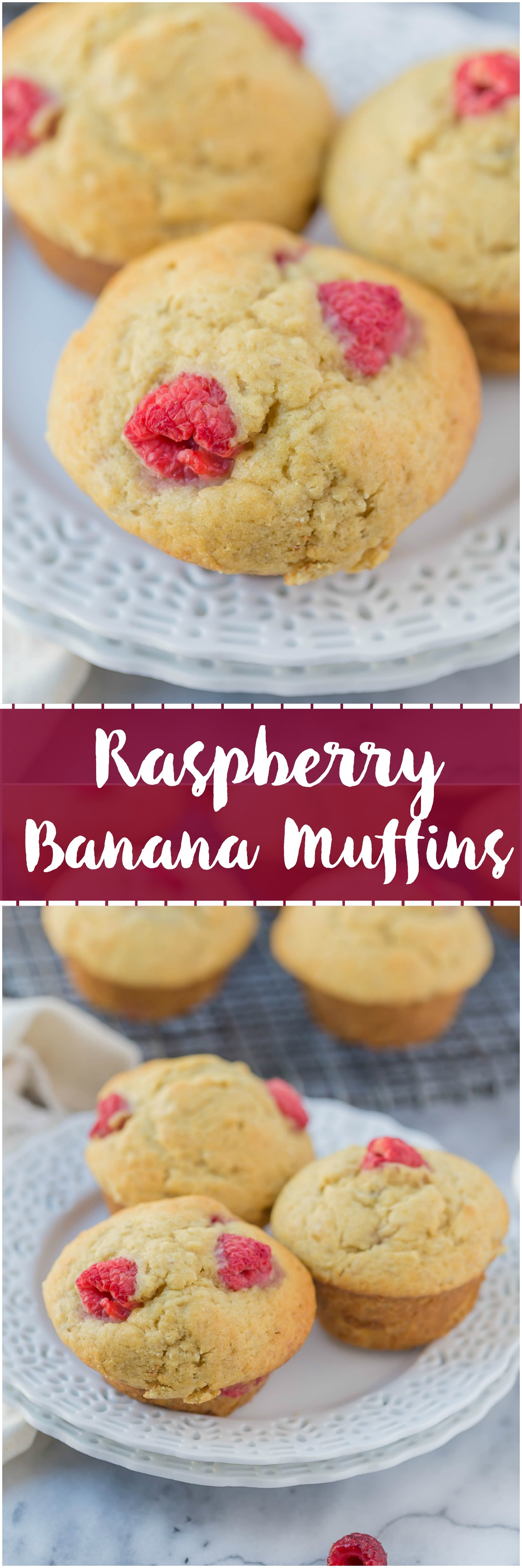 Raspberry Banana Muffins ~ Do you have some ripe bananas and fresh raspberries sitting around? Then you need to make these Raspberry Banana Muffins. Moist and all the right flavors.
